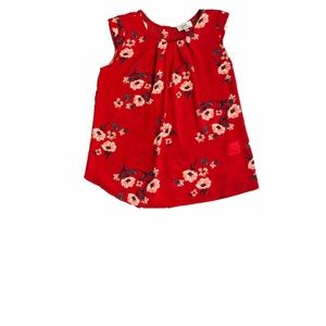 TWINE & STRING TOP FLORA RED SLEEVELESS